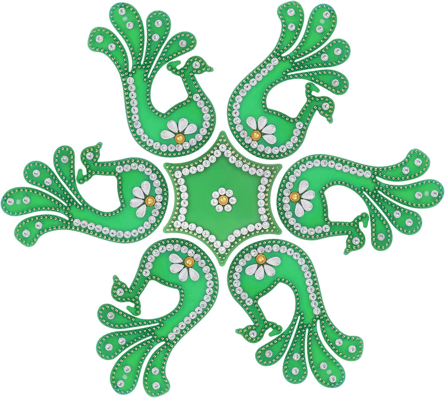 Aheli Peacock Shape Acrylic Rangoli for Home, Office, Diwali, Indian Festivals, Decoration, Traditional Studded with Faux Stones Floor Decorations (Green)
