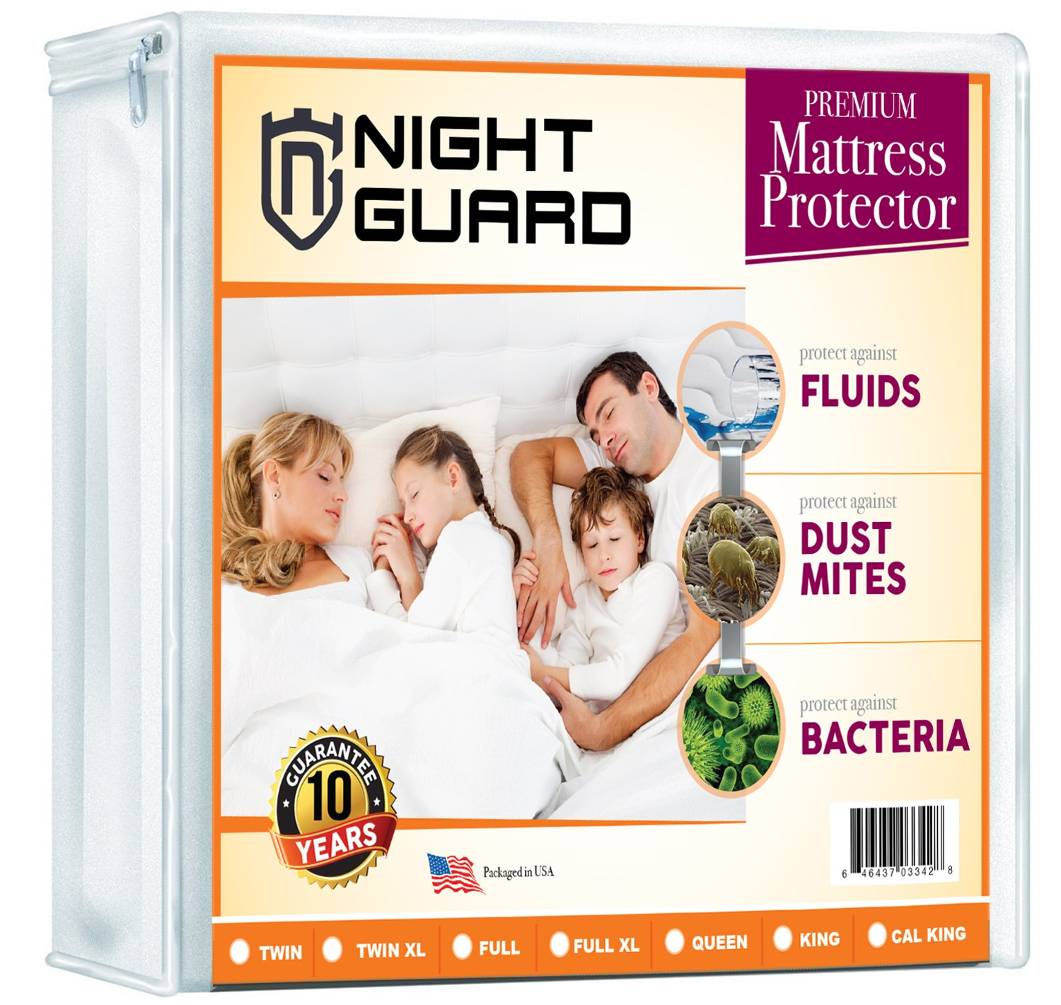 Night Guard Mattress Protector Premium Hypoallergenic Waterproof - Vinyl-Free - 130gsm - Fits Mattresses Up To 14 Inch Size - 38''x 75'' (Twin)
