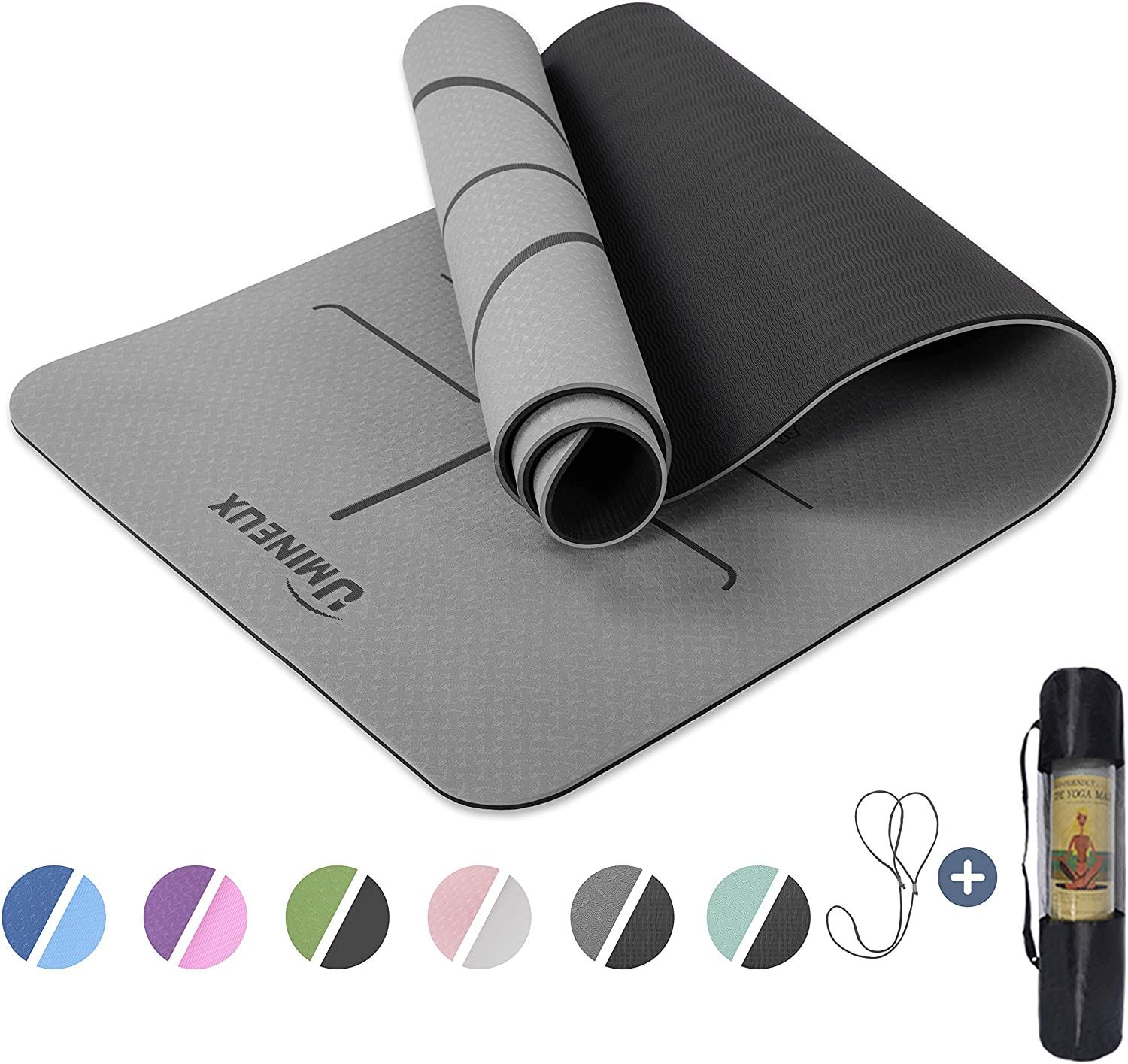Fitness Workout Mats for Home Gruper Non Slip Yoga Mat,Eco Friendly Exercise Mat for Hot Yoga,Extra Large Size,Free Carry Bag,Pro Yoga Mats for Women