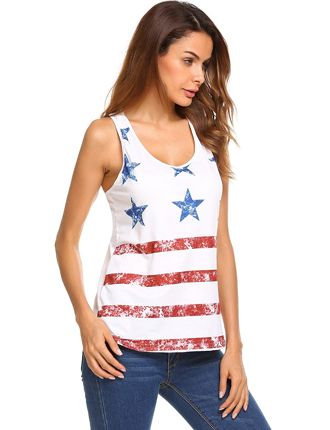 2fcdc631d8 Amazon.com: EASTHER Women Casual Vest 14th of June American Flag Print  Racerback Tank Tops(White,M): Clothing