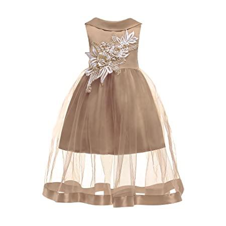 GHTWJJ Girls Evening Dresses Girl Prom Wedding Princess Dress Dress Childrens Embroidered Tutu Sleeveless,Gold