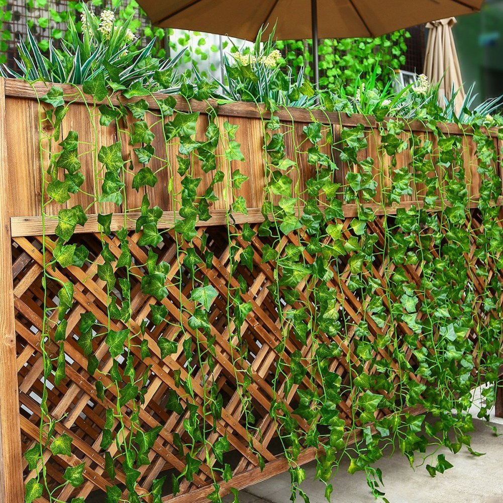 Tenchif 12 Strands Artificial Vines Leaves, 84 Feet Fake Greenery Ivy Garland Hanging Plants for Wedding Party Home Kitchen Garden Wall Swing Outdoor Decoration by Tenchif