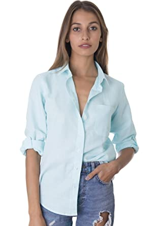 CAMIXA Women's Washed Casual Linen Button-down Shirt Look Cool at ...
