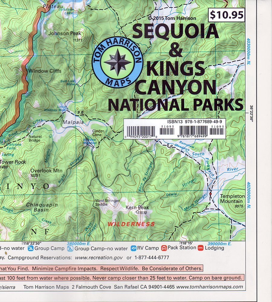 Sequoia & Kings Canyon National Parks (Tom Harrison Maps): Tom ...
