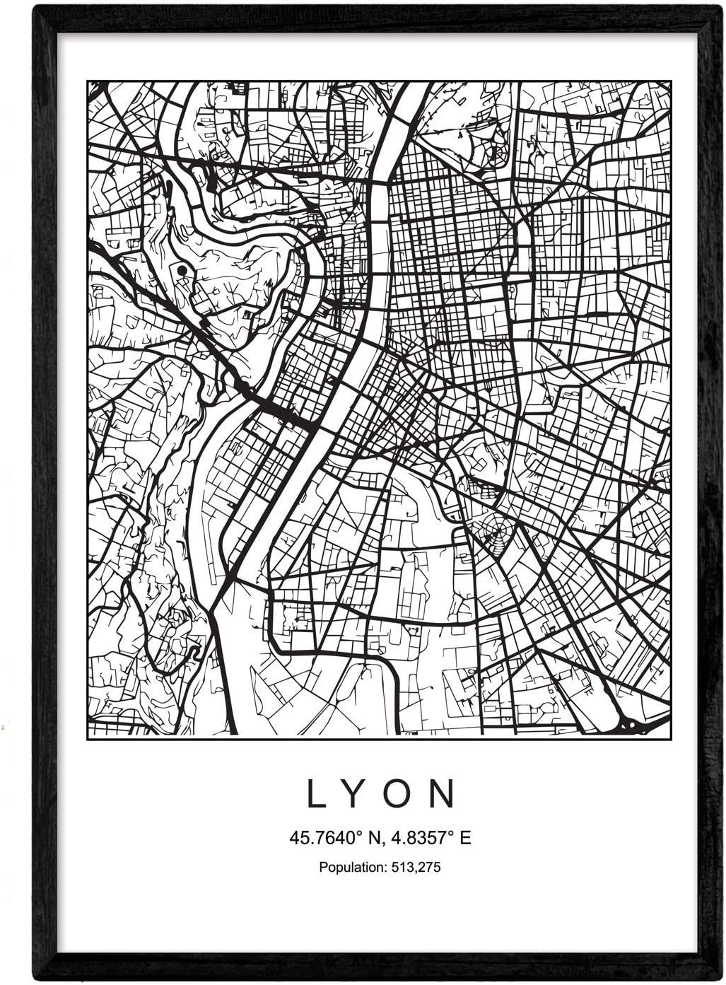 Nacnic Prints Lyon City Map Nordic Style - Set of 1 - Unframed 11x17 inch Size - 250g Paper - Beautiful Poster Painting for Home Office Living Room