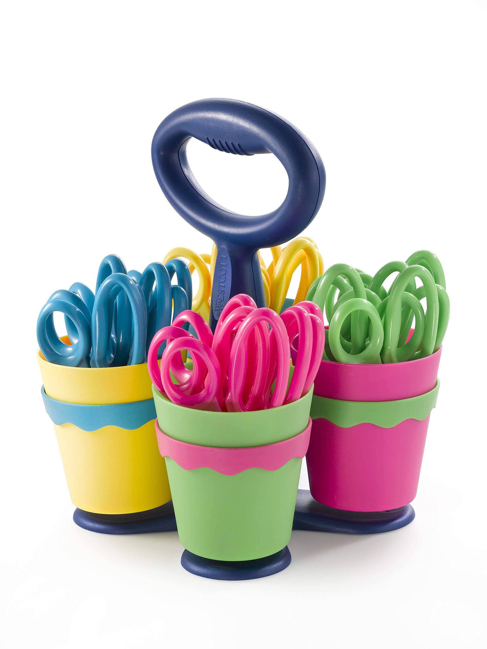 Westcott School Scissor Caddy with 24 Pointed 5'' Kids Scissors with Anti-Microbial Protection (Renewed)