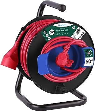 Electraline 200150 Enrollacables para jardín, Negro y Rojo, 50 m ...