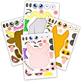 24 Make A Barnyard Farm Animal Stickers - Great Zoo Themed Birthday Party Favors - Fun Craft Project for Children 3…