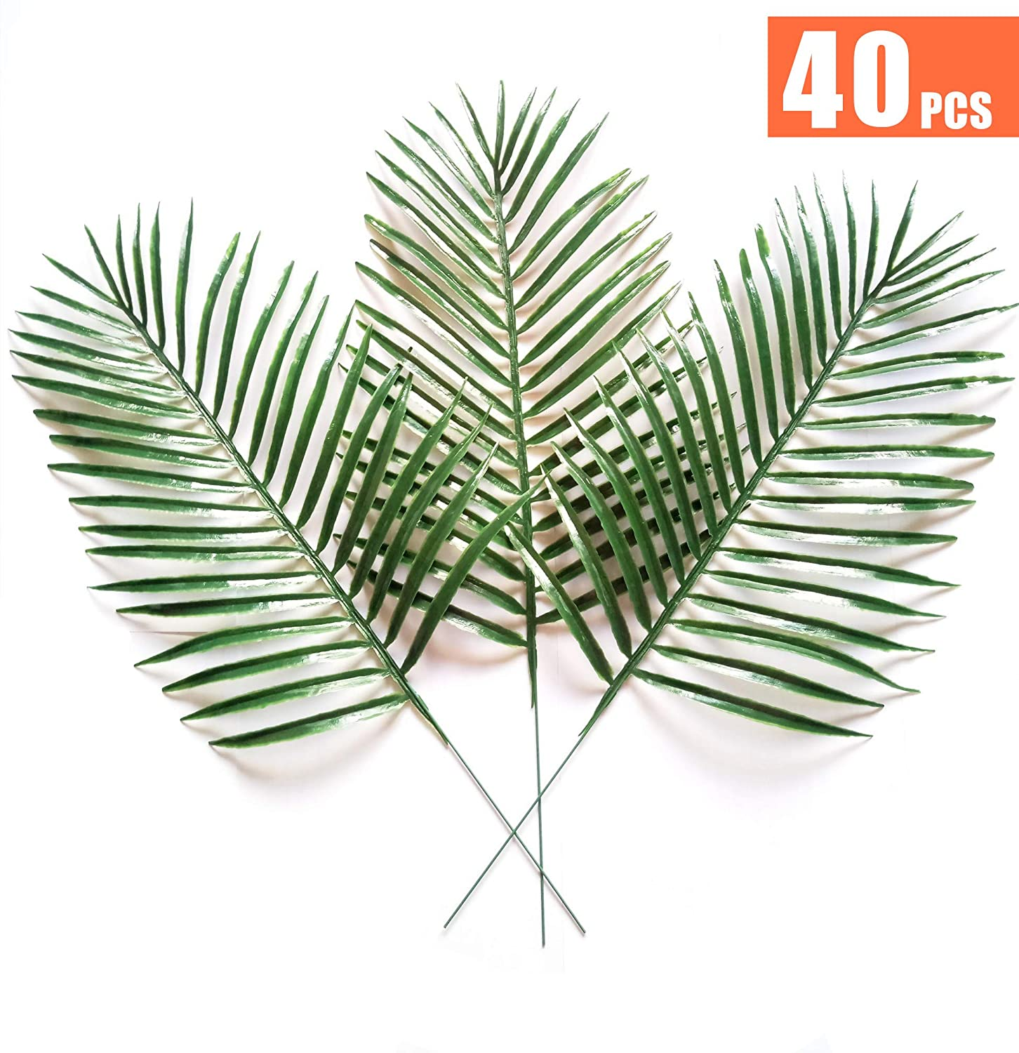 40pcs Artificial Simulated Tropical Palm Leaves Fake Plants for Handcrafts Home Kitchen Party Decorations XIHAROOM