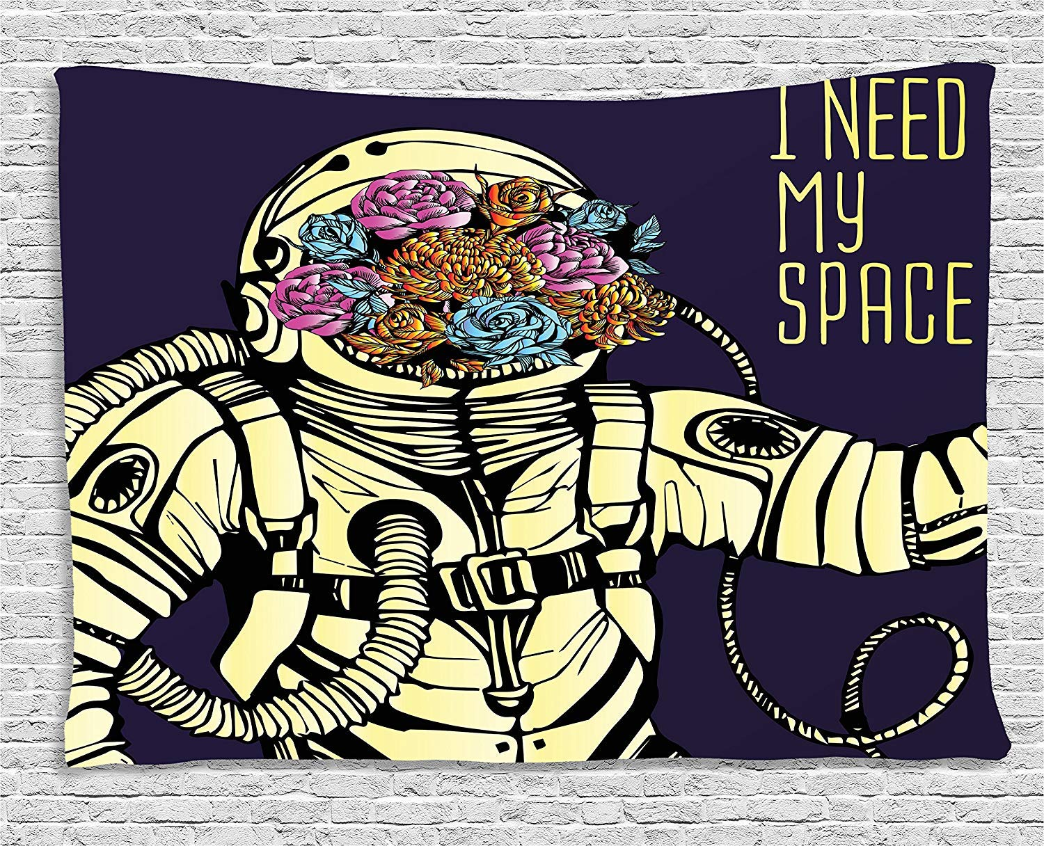 THndjsh Outer Space Decor Tapestry, Floral Cosmonaut Man in Spacesuit Solar System Alien Comet Cartoon Image, Wall Hanging for Bedroom Living Room Dorm, 80WX60L Inches, Yellow Blue
