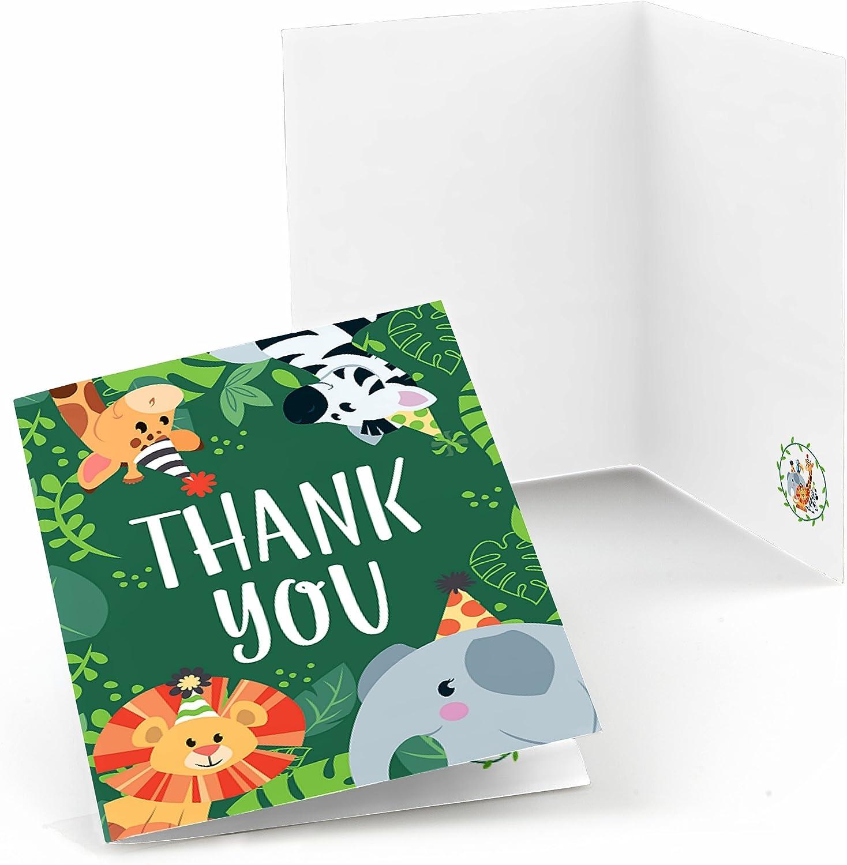 행복 정글 파티 동물의 큰 점 - 사파리 동물원 동물 생일 파티 또는 베이비 샤워 감사 카드 (8 카운트)