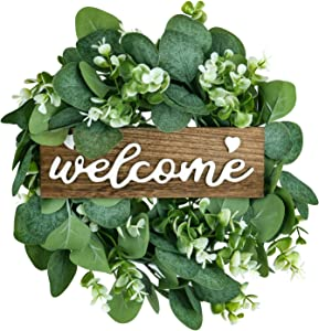 Welcome Sign with Wreaths Front Door Porch Decor Rustic Wood Hanging Welcome Sign for Farmhouse Home Wedding Thanksgiving Christmas Decorations