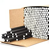 Black Paper Straws, Solid black/250 Bulk, Food Safe Biodegradable Paper Drinking Straws for Cocktail, Drinks, Home, Party, Special Events and