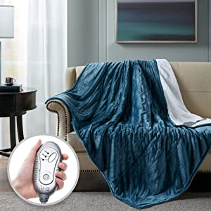 Hyde Lane Electric Sherpa Heated Blanket | 60x70 Premium Oversized Plush Heated Blankets | Teal Blue | Machine Washable | Extremely Cozy & Soft | 3 Heat Settings | Auto-Shutoff