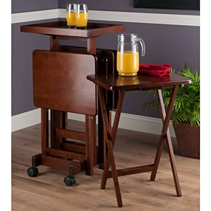 Tv Tray Snack Tables 6 Piece Set With Serving Tray And Stand On Wheels Portable Furniture Bundle Includes Customizable Elegant Monogram Drink Coasters