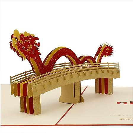 Tarjeta 3D, puente de dragón vietnamita, tarjeta de felicitación, tarjeta desplegable para cumpleaños, felicitaciones, Navidad, aniversario, Año Nuevo, gracias: Amazon.es: Juguetes y juegos
