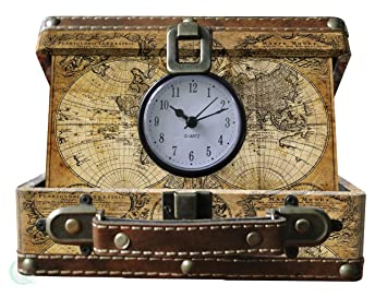 Vintiquewise old world map suitcase clock antique brown small vintiquewise old world map suitcase clock antique brown small gumiabroncs Choice Image