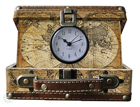 Vintiquewise old world map suitcase clock antique brown small vintiquewise old world map suitcase clock antique brown small gumiabroncs Image collections