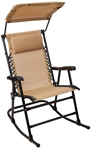AmazonBasics Foldable Rocking Chair with Canopy – Beige