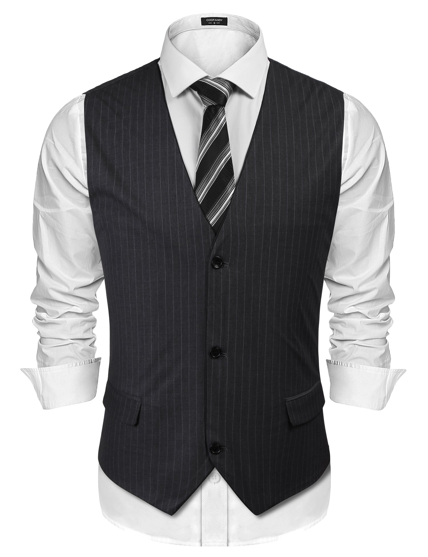 COOFANDY Mens V-Neck Sleeveless Slim Fit Vest Jacket Business Suit Dress Vests,Type 2-grey,X-Large