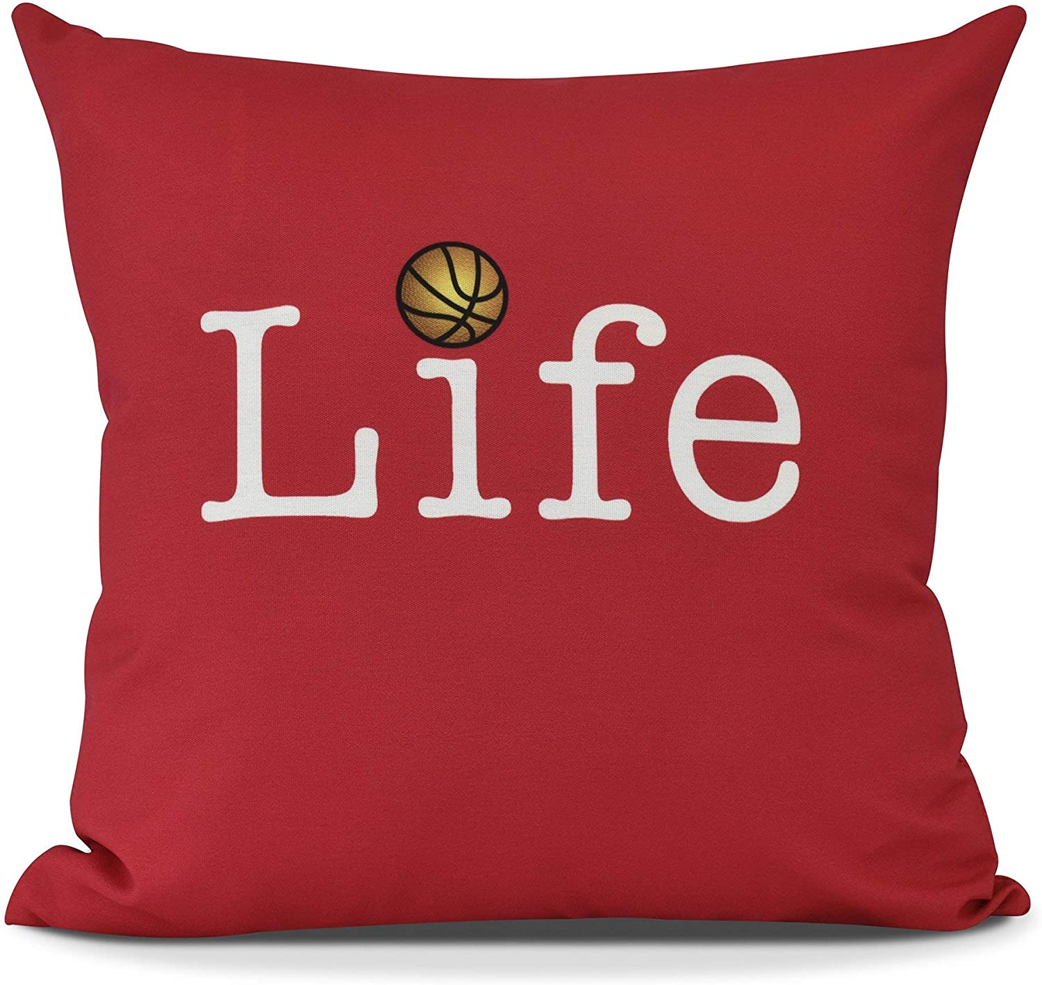Amazon Com Misc 18 X18 Red Life Basketball Print Throw Pillow Sports Themed Cushion Athletic Games Quotes Decorative Pillow Boys Kids Best Gift Fun Graphic Bedroom Couch Casual Style Soft Plush Polyester Home