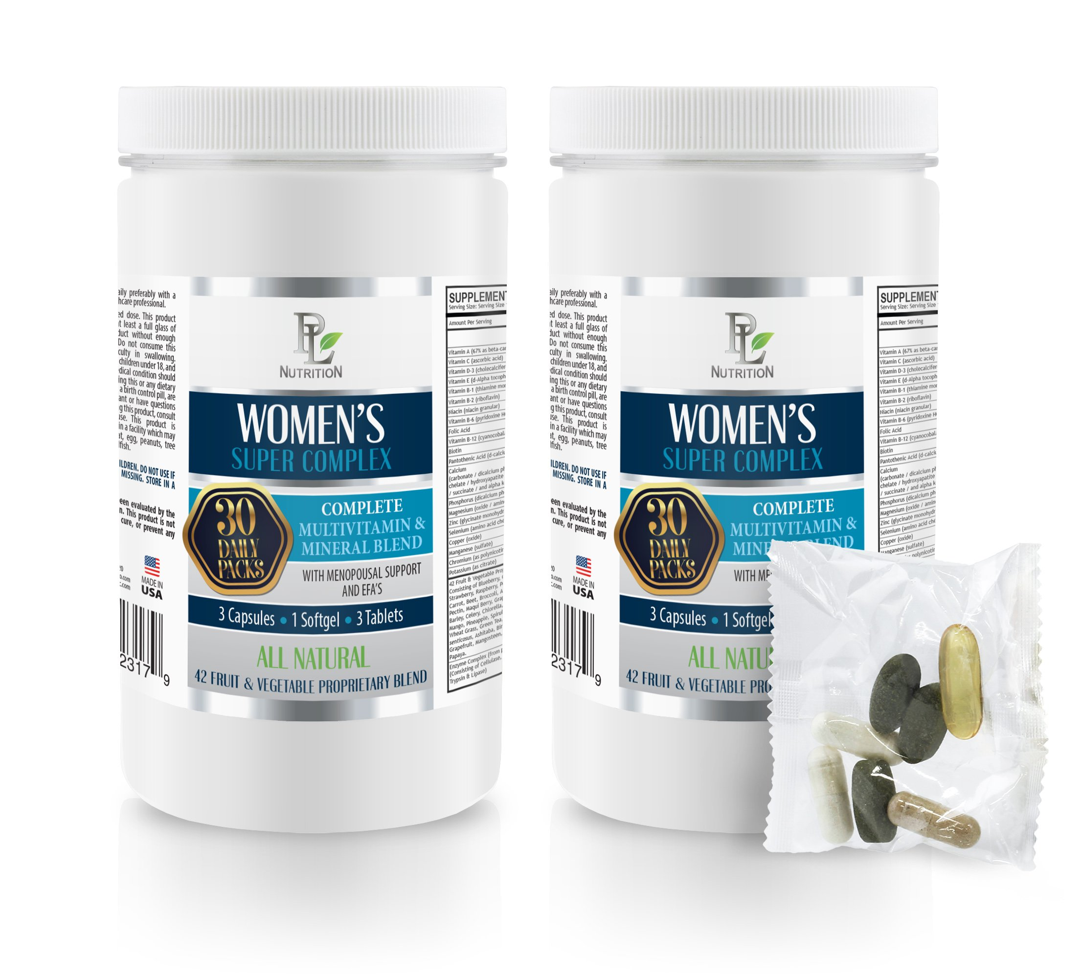 Powerful Antioxidant - Women's Super Complex - Daily Pack - folic Acid and zinc for Women - 2 Cans 60 Packs (420 Pills)