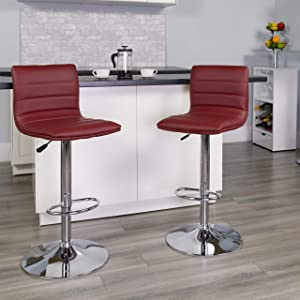 Flash Furniture 2 Pack Modern Burgundy Vinyl Adjustable Bar Stool with Back, Counter Height Swivel Stool with Chrome -Pedestal Base