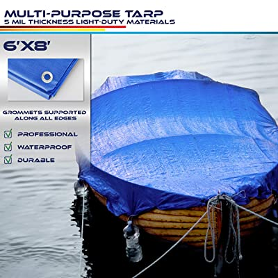 Windscreen4less 6\' x 8\' General Multiple Purpose 5 Mil Waterproof Blue Poly Tarp [5Bkhe1411960]