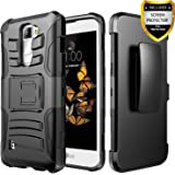 LG K8 V Case, LG K8V Case, Combo Shell Cover Kickstand with Built-in Holster Locking Belt Clip+Circle(TM)Touch Screen Pen And Screen Protector-Black