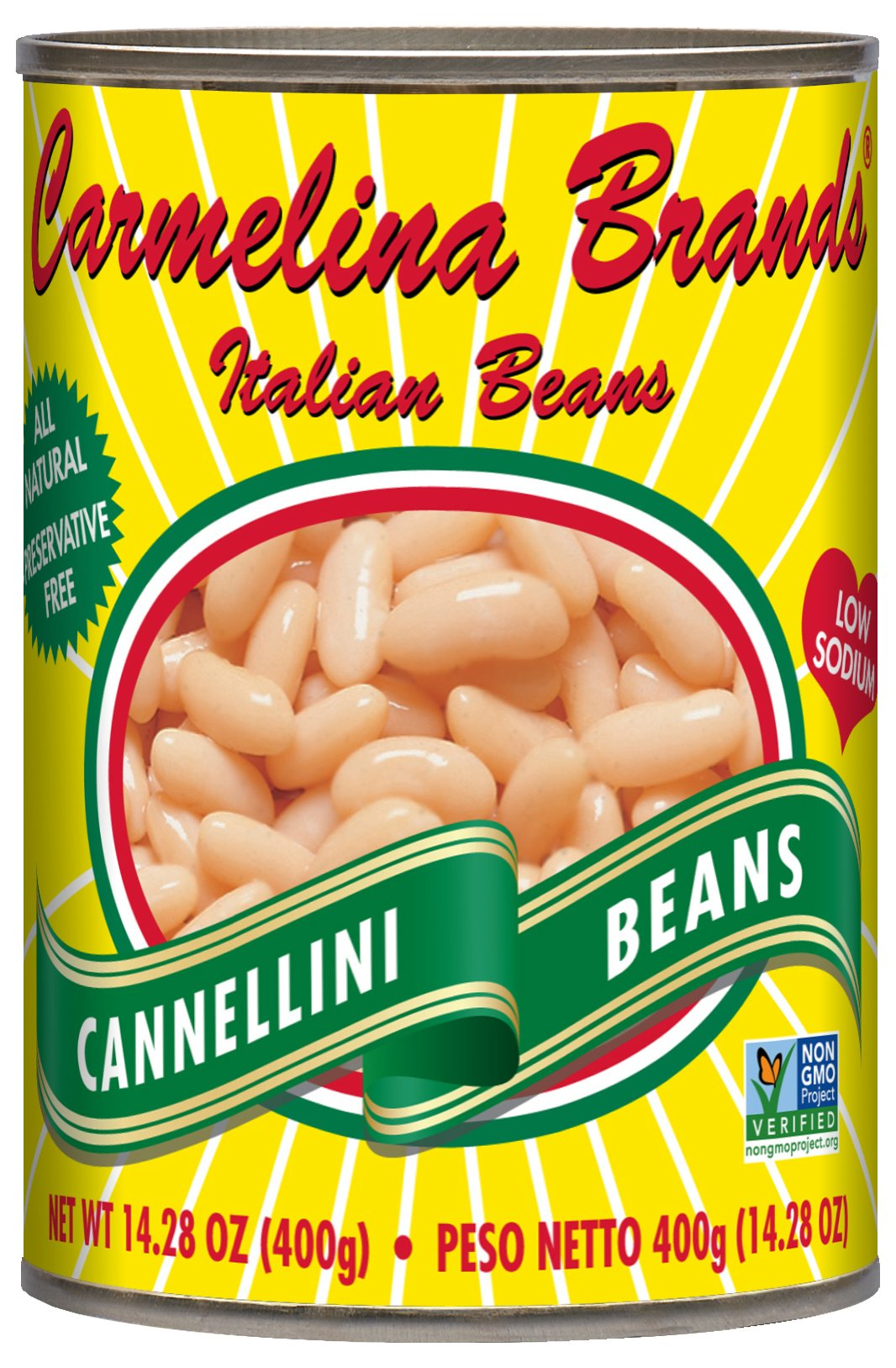 Carmelina Brands Italian Cannellini Beans (White Beans), 14.28 ounce (Pack of 12)