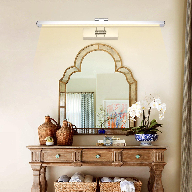 AUFUN 16W LED Spiegellampen Spiegelleuchte Spiegelschrank Wandlampe Bad-Beleuchtung Edelstahl Wasserdicht IP44,L/änge 80cm