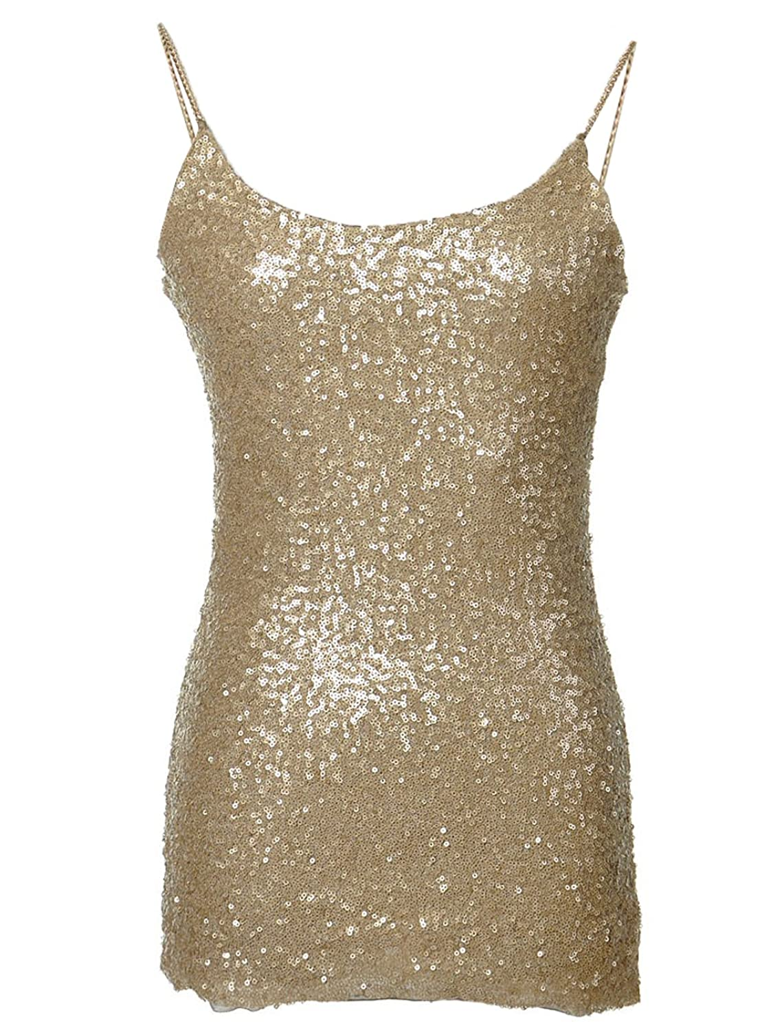 Anna-Kaci Womens Glitzy Front Sequin Metal Chain Straps Stretchy Vest Tank Top