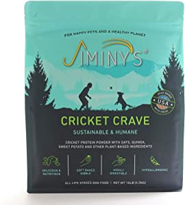 Jiminy's Cricket Crave Cricket Protein Oven-Baked Dog Food 10 lb Bag   100% Made in The USA   Gluten-Free   Sustainable   Limited Ingredients   High Protein   Hypoallergenic