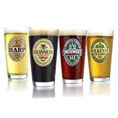 ARC International Luminarc Irish Beer Label Pub Beer Glass, 16oz , Set of 4