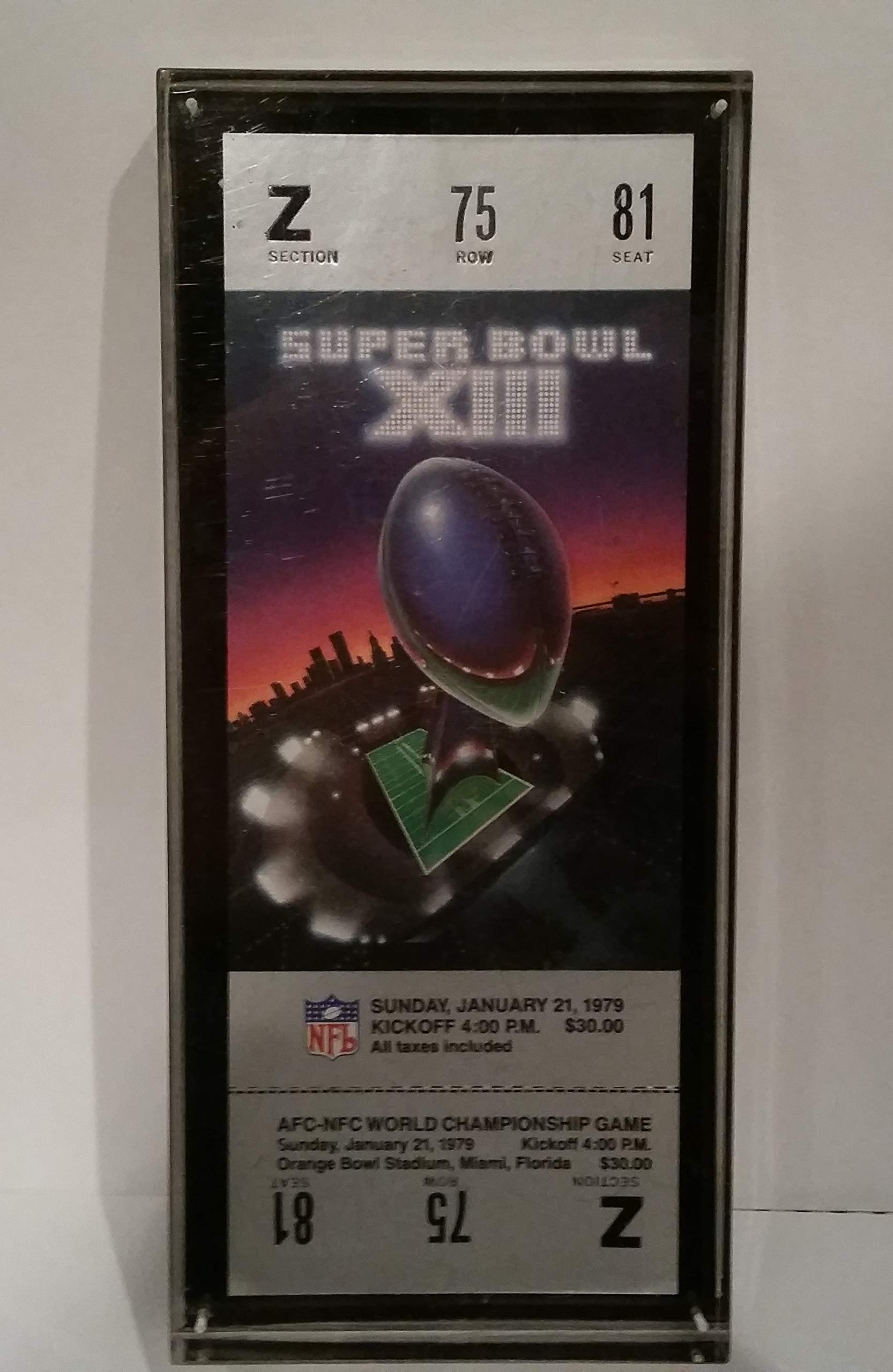 PAPER WEIGHT ENCLOSED SUPERBOWL XIII PROOF TICKET STEELERS VS. COWBOYS