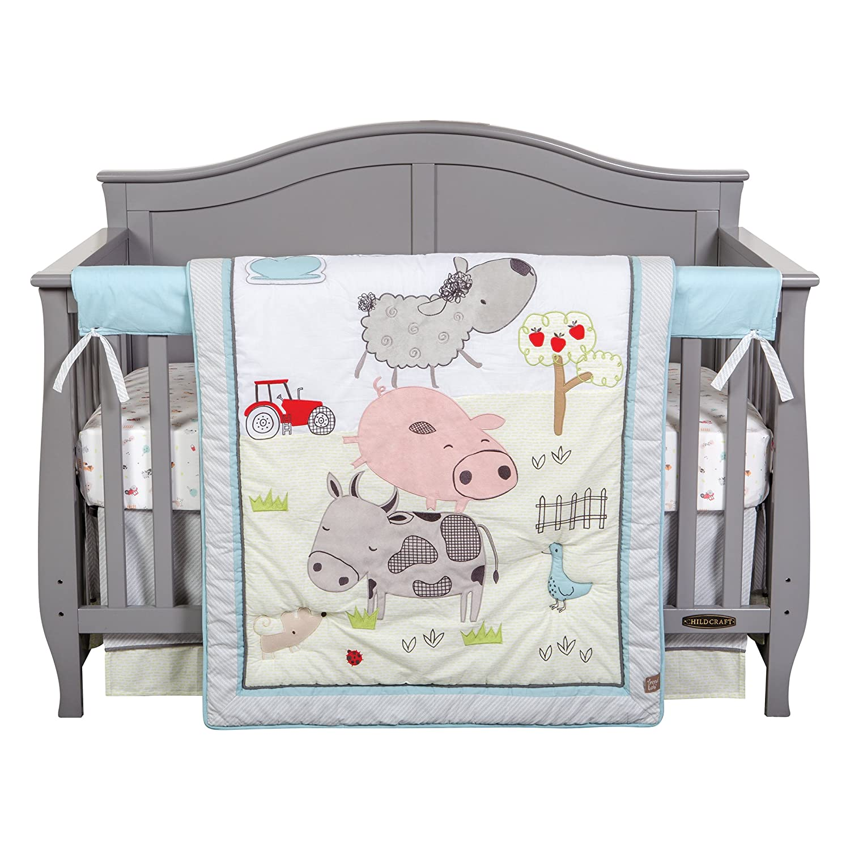Trend Lab Farm Stack 4 Piece Crib Bedding Set Multi