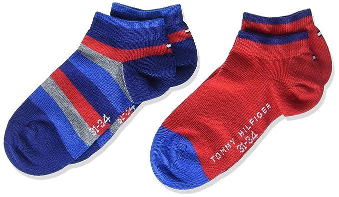 Tommy Hilfiger TH Kids Basic Stripe Quarter 2P, Calcetines Cortos para Niños, Multicolor (