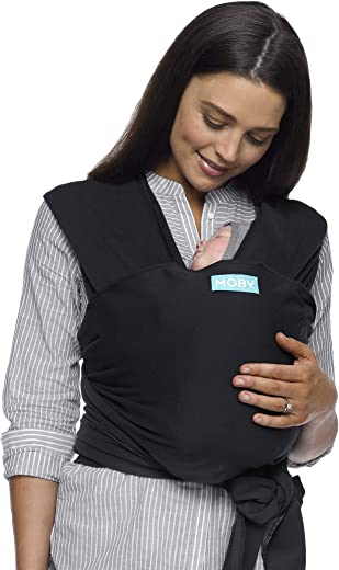 Moby Classic Baby Wrap for Parents On The Go | Ideal for Baby Wearing & Breastfeeding | Black | Compatible for Newborns, Infants, and Toddlers