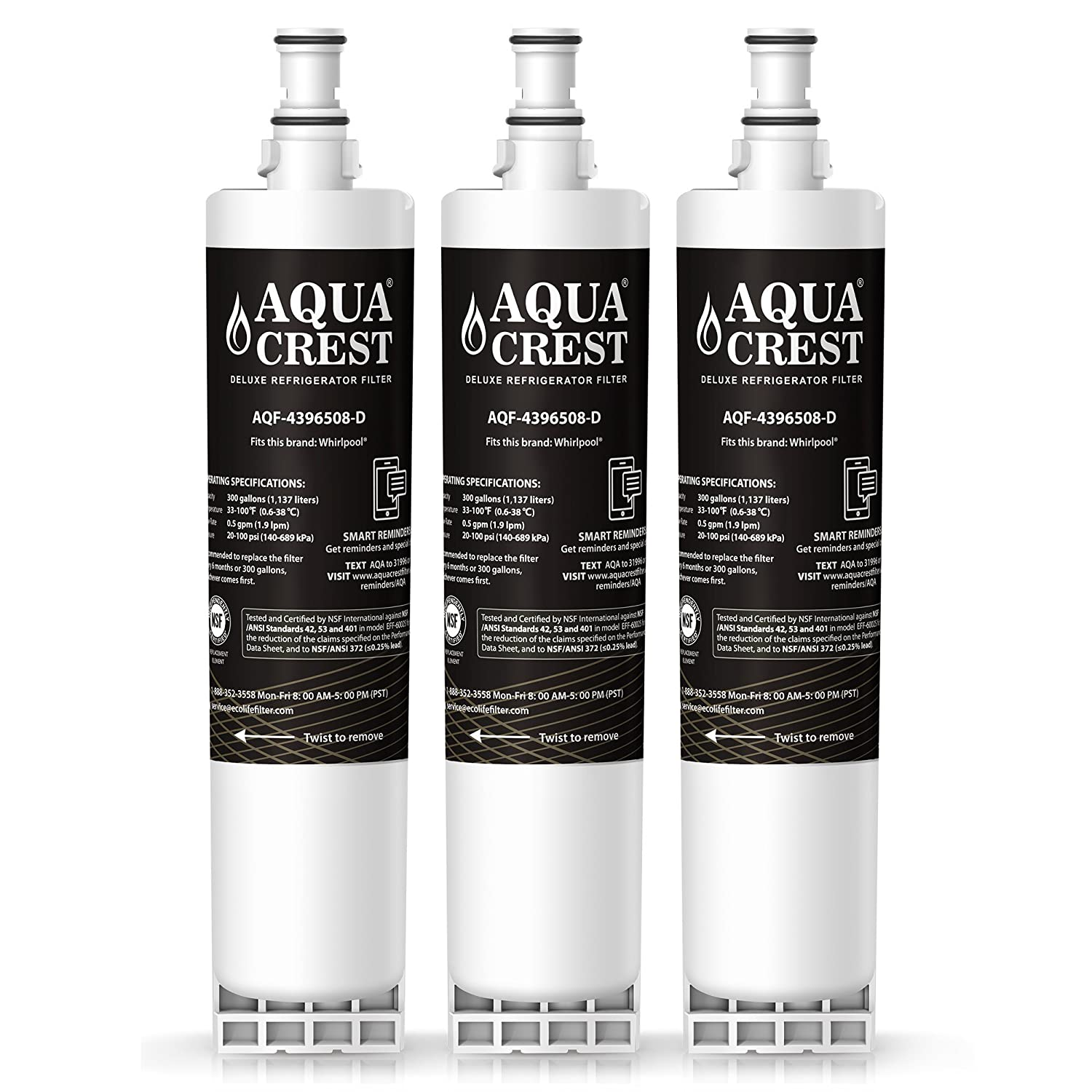 AQUACREST 4396508 NSF 401,53&42 Refrigerator Water Filter, Compatible with  Whirlpool 4396508 4396510, Everydrop Filter 5, 46-9010, EDR5RXD1,PUR