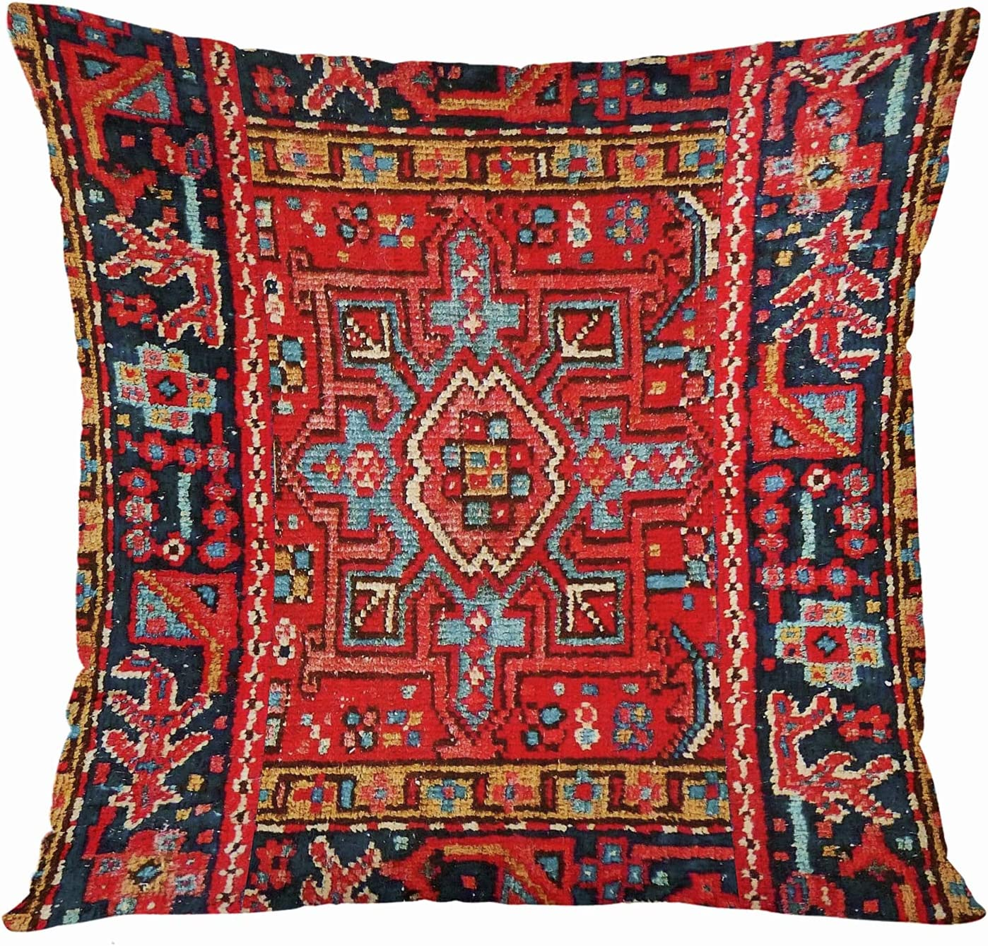 VANMI Throw Pillow Cover Orange Persian Design Decorative Oversized Pillow Case Home Decor Square 20x20 Inches Pillowcase