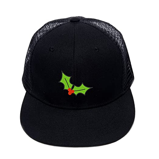 d68bdd83e3f68 Street Dancing Cotton Mesh Cap Embroidered Green Christmas Holly Leaves  Comfortable Hip Hop Hat Dance Cap