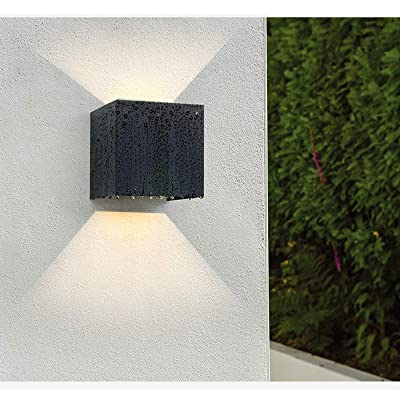 "LED Cube Exterior Aluminum IP65 Waterproof Wall Lamp, Yosoan 4.7"" 20W Super Warm White Modern Fixture Light 86-265V Adjustable Outdoor Indoor Wall Black Sconce Lamp Up Down"