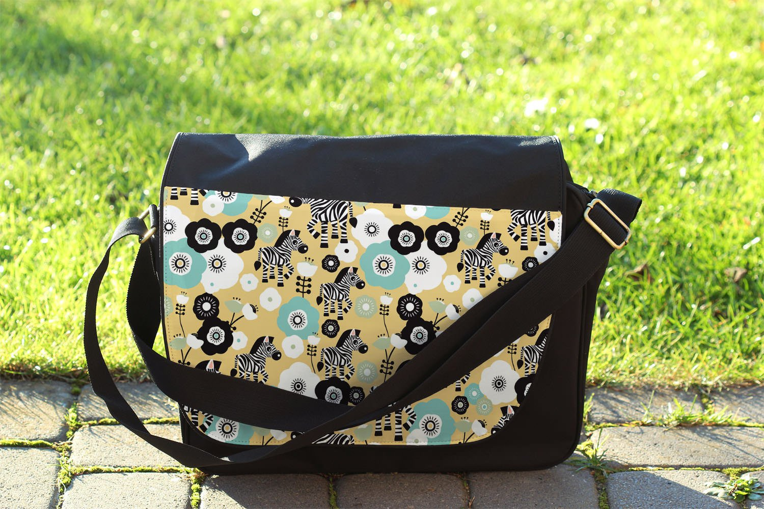 Zebra Blossoms Yellow - One Size Messenger Bag - Messenger Bag by Queen of Cases (Image #3)