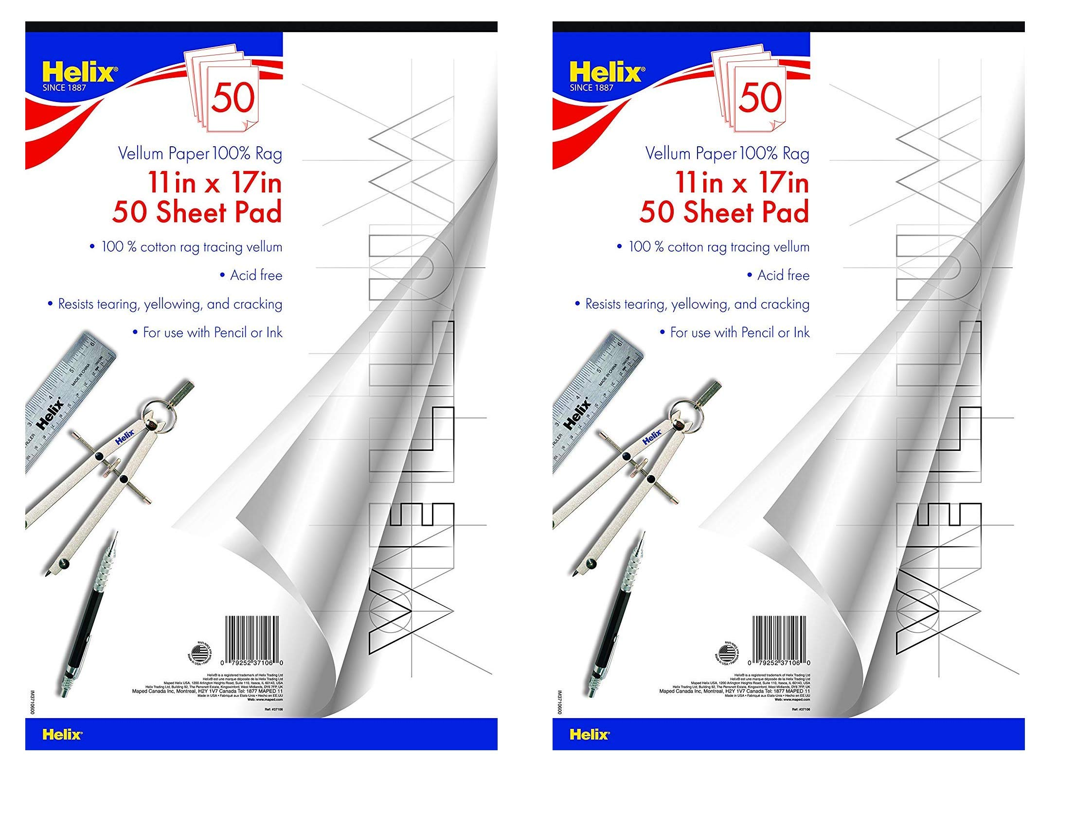 Helix Vellum Paper Pad, 100% Rag, 11 x 17 inch, 50 Sheets (37106) (2-Pack) by Maped Helix USA