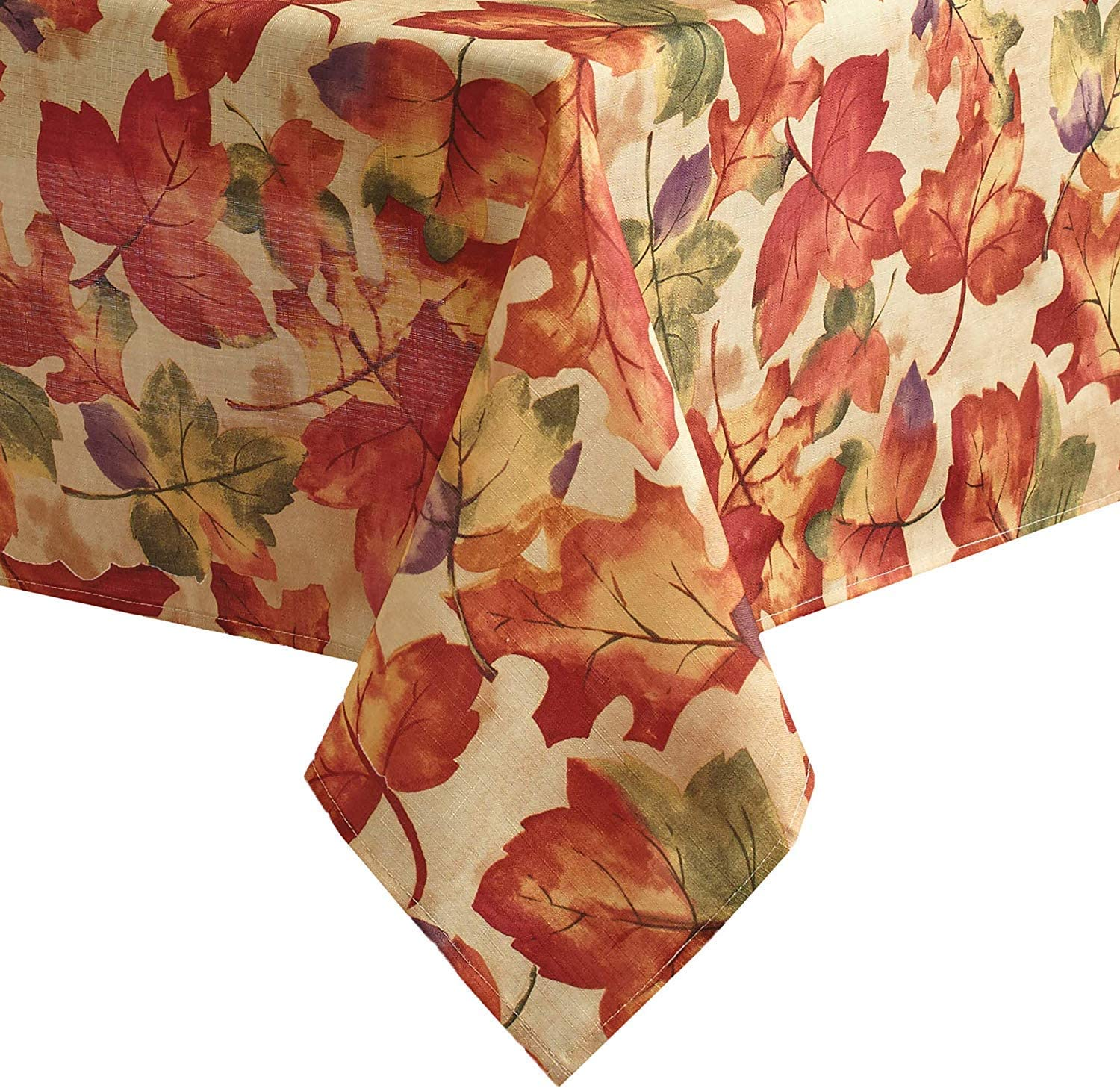 Newbridge Autumn Leaf Collage Contemporary Thanksgiving and Fall Season Fabric Tablecloth, Impressionist Fall Leaves Soil Resistant, No Iron Easy Care Tablecloth, 52 Inch x 52 Square