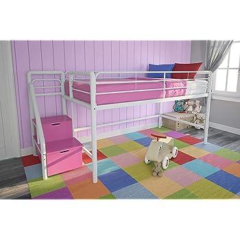 Amazon Com Dhp Junior Twin Metal Loft Bed With Storage