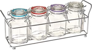Circleware Optic 5-Piece Set of Four Mini Glass Spice Jars with Swing Top Hermetic Airtight Locking Lid, Kitchen Food Preserving Storage with Metal Caddy for Coffee, Sugar, Tea, 4 oz, Clear