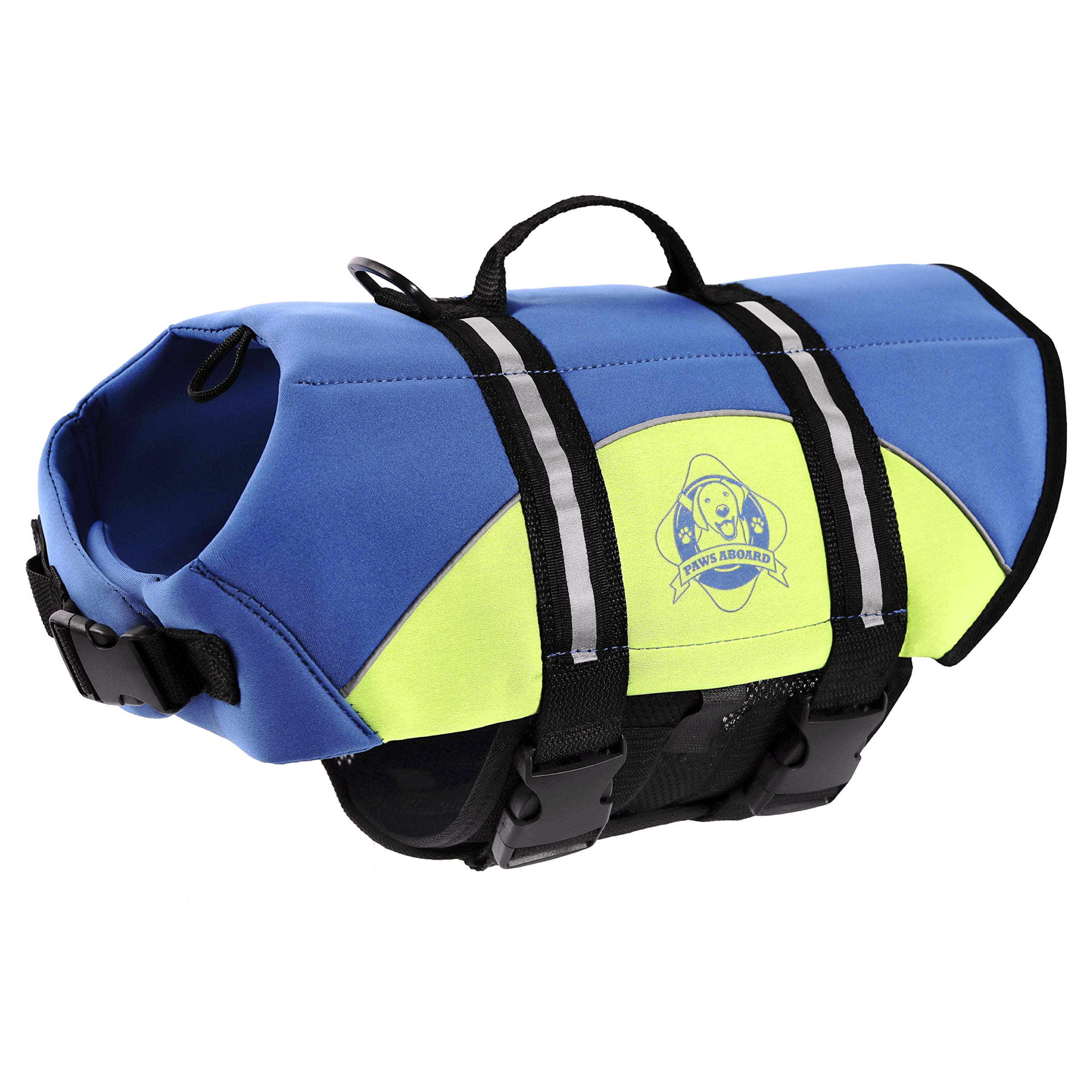 Paws Aboard Dog Life Jacket,  Neoprene Dog Life Vest for Swimming and Boating - Blue/Yellow by Paws Aboard