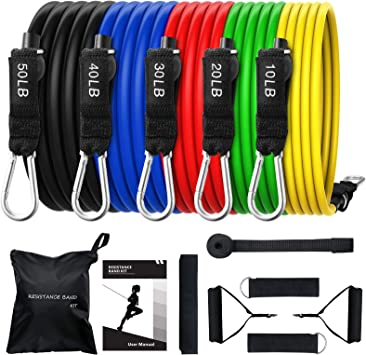 OMORC Juego de bandas de resistencia – [hasta 150 lbs] 5 bandas elásticas de látex con asas, gancho para la puerta y tobilleras y bolsa kit de ...