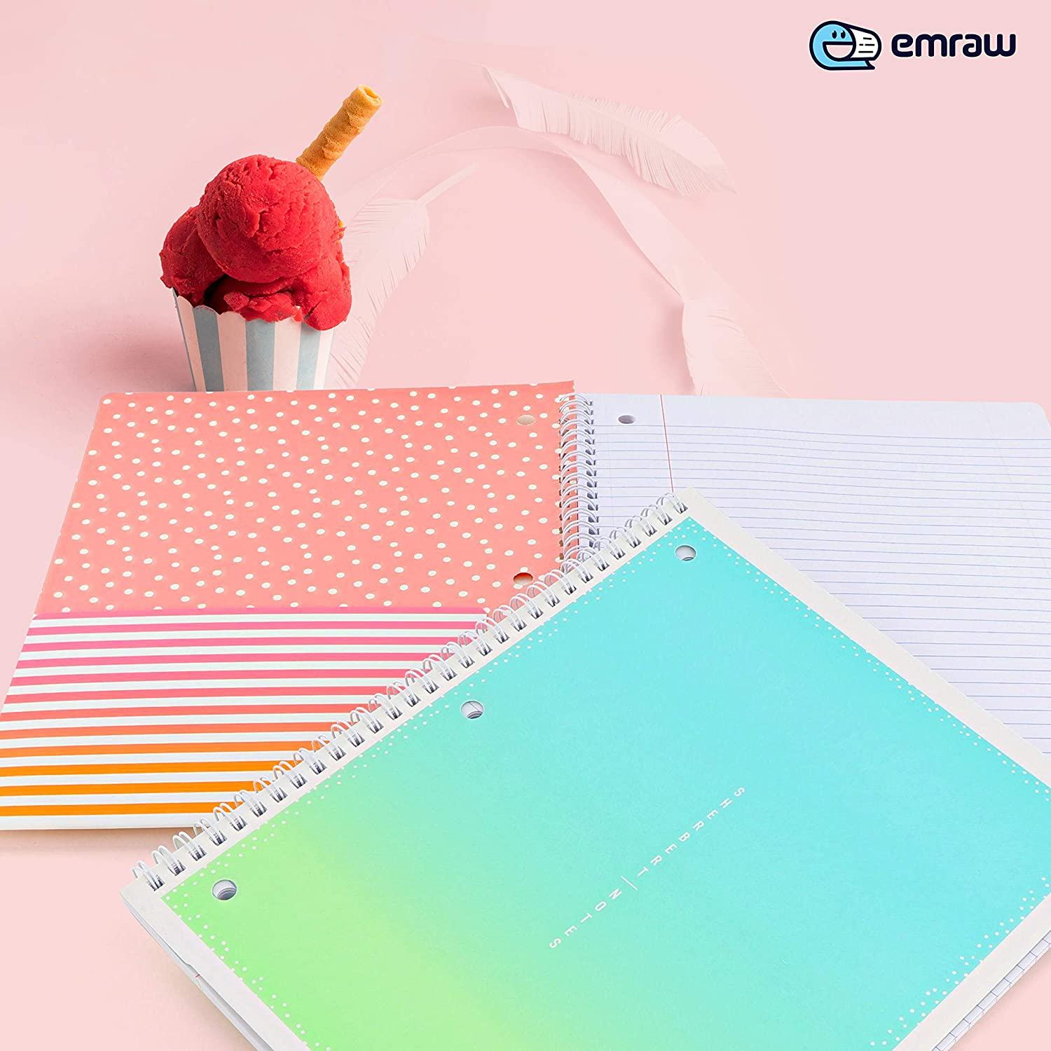 Uniquely Designed 1 Subject Notebook 10.5 x 8.5 College Ruled Paper Board Cover 80 Sheets Perfect for Kids School, Collages, Office and Home Use Sherbert Design Pink & Green (2 Pack) Emraw : Office Products